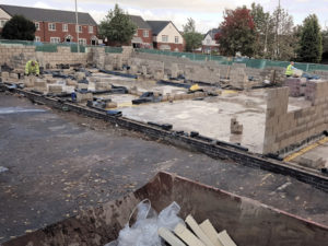 Blockwork being constructed to a new build community centre