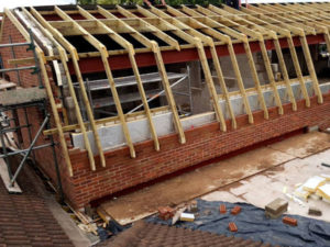 Timberwork being completed to a Mansard Roof