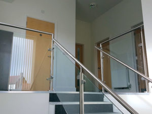 Installation of new brushed steel handrail