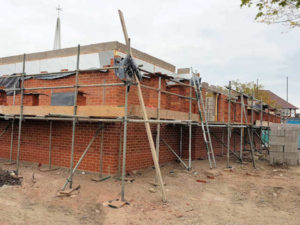 First lift scafffolding to new build